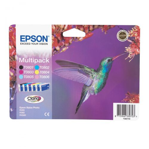 Epson T0807 Inkjet Cart Hummingbird Blk/C/M/Y/LC/LM 7.4ml Ref C13T08074011[Pack 6]