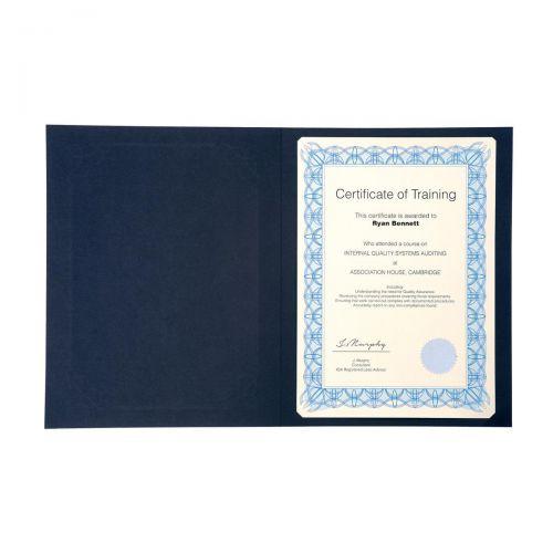 Certificate Covers Linen Finish Heavyweight Card 240g A4 Blue [Pack 5]