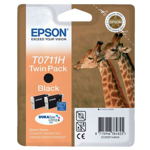 Epson T0711H Inkjet Cartridge Giraffe High Yield Page Life 385pp 11.2ml Black Ref C13T07114H10 [Pack 2]