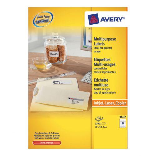 Avery Multipurpose Labels Laser Copier Inkjet 21 per Sheet 70x42.3mm White Ref 3652 [2100 Labels]