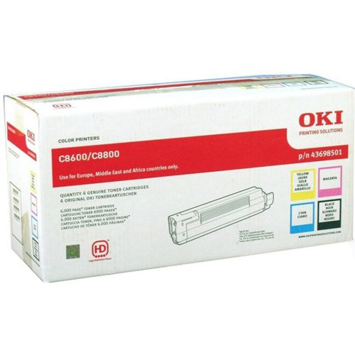 OKI Laser Toner Cartridges Page Life 6000pp Black/Cyan/Magenta/Yellow Ref 43698501 [Pack 4]