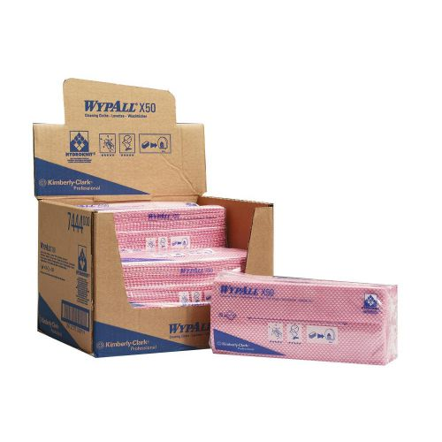 Wypall X50 Cleaning Cloths Absorbent Strong Non-woven Tear-resistant Red Ref 7444 [Pack 50]