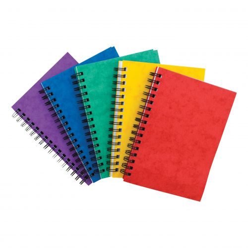 Notebook Sidebound Twin Wire 80gsm Ruled & Perforated 120pp A6 Assorted Colours A [Pack 10]