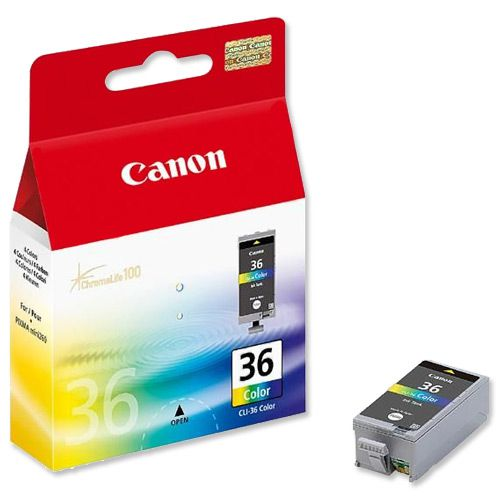 Canon CLI-36 Inkjet Cartridge Page Life 249 pages 12ml Tri-Colour Ref 1511B001