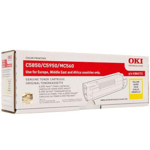 OKI Laser Toner Cartridge Page Life 6000pp Yellow Ref 43865721