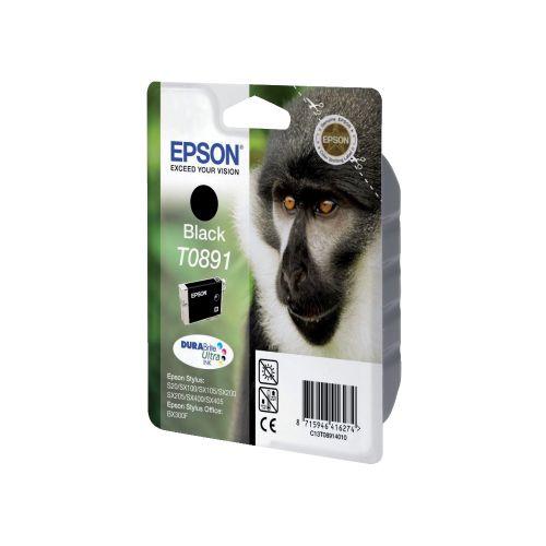 Epson T0891 Inkjet Cartridge Monkey Page Life 180pp 5.8ml Black Ref C13T08914011