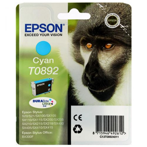 Epson T0892 Inkjet Cartridge Monkey Page Life 185pp 3.5ml Cyan Ref C13T08924011