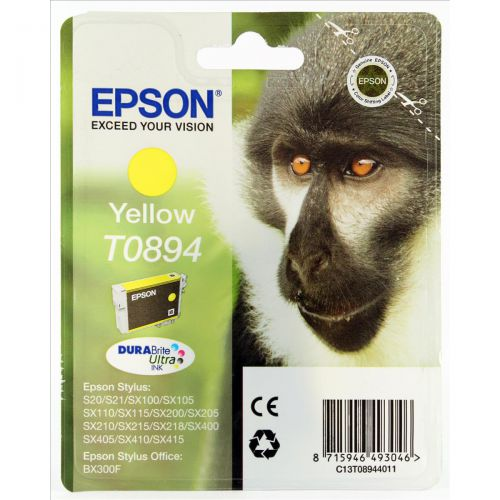 Epson T0894 Inkjet Cartridge Monkey Page Life 200pp 3.5ml Yellow Ref C13T08944010