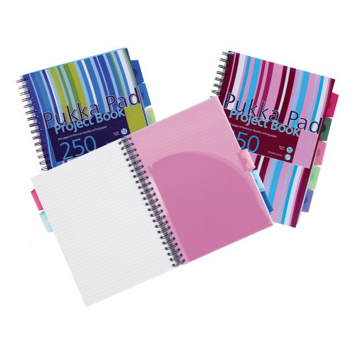 Pukka Pad Project Book Wirebound Perforated Ruled 5-Divider 80gsm 250pp A4 Assorted Ref PROBA4 [Pack 3]