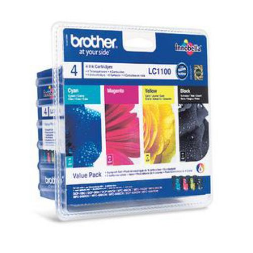 Brother InkjetCartValuePack PageLife 450pp BlackPageLife 325ppCyan/Magenta/Yellow RefLC1100VALBP [Pack 4]