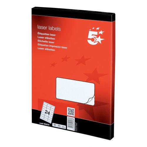 5 Star Office Multipurpose Labels Laser Copier Inkjet 24 per Sheet 64x34mm White [2400 Labels]