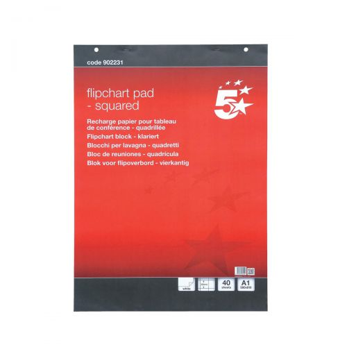 5 Star Office Flipchart Pad Perforated 40 Sheets A1 Feint 20mm Squared [Pack 5]