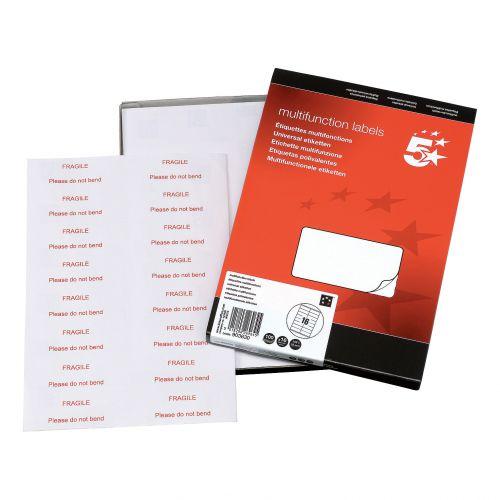 5 Star Office Multipurpose Labels Laser Copier Inkjet 16 per Sheet 105x35mm White [1600 Labels]