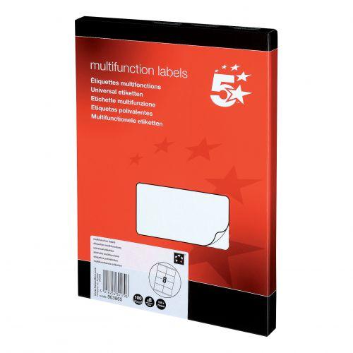 5 Star Office Multipurpose Labels Laser Copier Inkjet 8 per Sheet 105x71mm White [800 Labels]