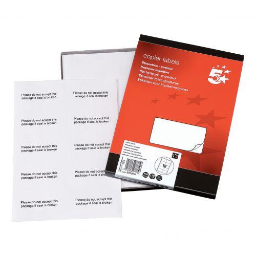 5 Star Office Multipurpose Labels Laser Copier Inkjet 10 per Sheet 105x58mm White [1000 Labels]