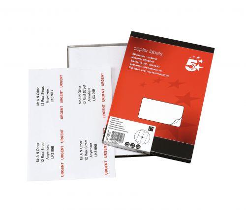 5 Star Office Multipurpose Labels Laser Copier and Inkjet 4 per Sheet 105x148.5mm White [400 Labels]