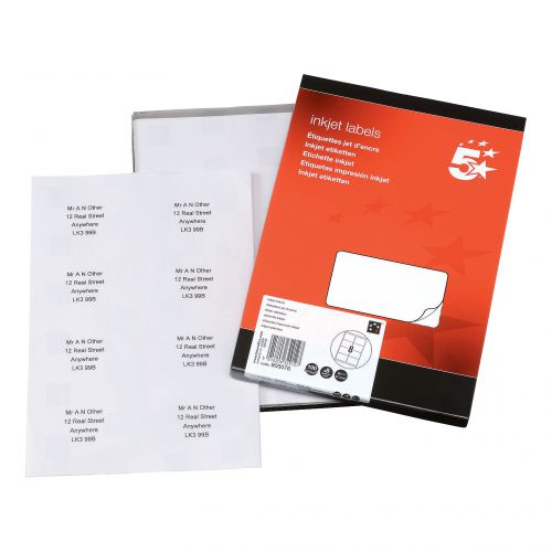 5 Star Office Addressing Labels Inkjet 8 per Sheet 99.1x67.7mm White [800 Labels]