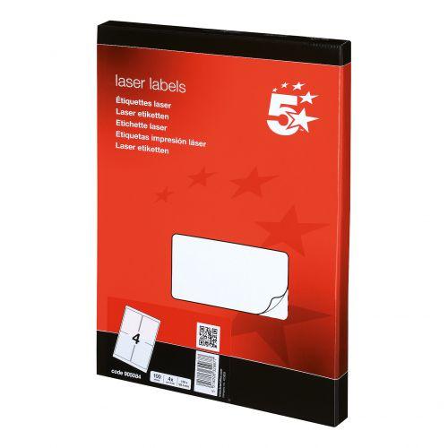 5 Star Office Multipurpose Labels Laser Copier and Inkjet 4 per Sheet 139x99.1mm White [400 Labels]