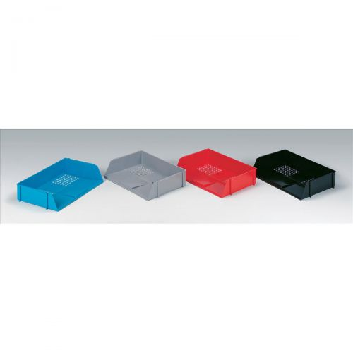 Initiative Letter Tray Wide Entry High-impact Polystyrene Stackable Black