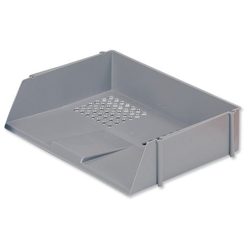 5 Star Office Letter Tray Wide Entry High-impact Polystyrene Stackable Grey