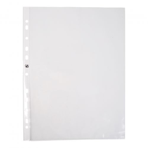 5 Star Office Punched Pocket Polypropylene Top and Side-opening 60 Micron A4 Glass Clear [Pack 100]