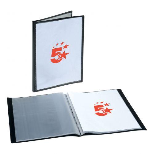 5 Star Office Display Book Polypropylene 20 Pockets A4 Black