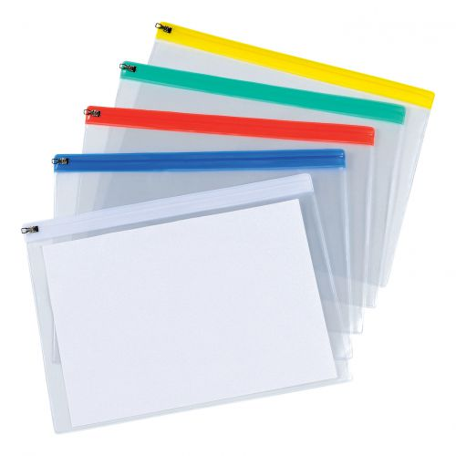 5 Star Office Zip Filing Bags Clear Front with Coloured Seal A4 Assorted [Pack 30]