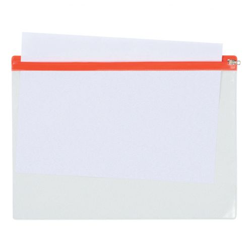 5 Star Office Zip Filing Bags PVC Clear Front with Coloured Seal A4 Assorted [Pack 30]