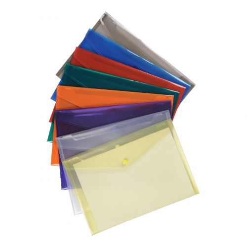 5 Star Office Envelope Stud Wallet Polypropylene A4 Translucent Assorted [Pack 25]