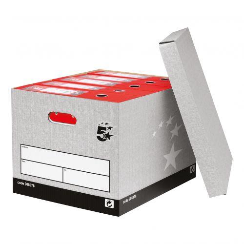 5 Star Facilities Storage Box Self-Assembly Grey FSC [Pack 10]