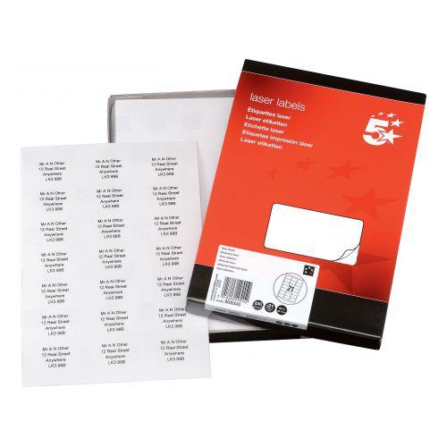 5 Star Office Multipurpose Labels Laser Copier Inkjet 21 per Sheet 63.5x38.1mm White [5250 Labels]