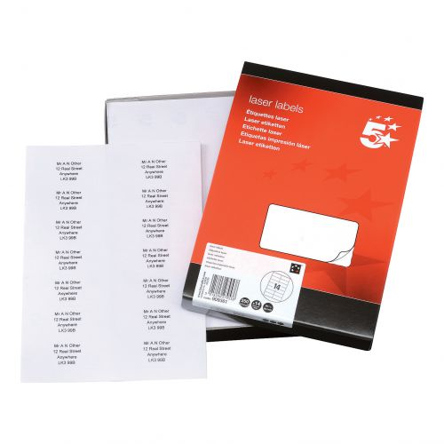 5 Star Office Multipurpose Labels Laser Copier Inkjet 14 per Sheet 99.1x38.1mm White [3500 Labels]