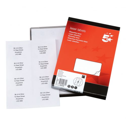 5 Star Office Multipurpose Labels Laser Copier Inkjet 8 per Sheet 99.1x67.7mm White [2000 Labels]