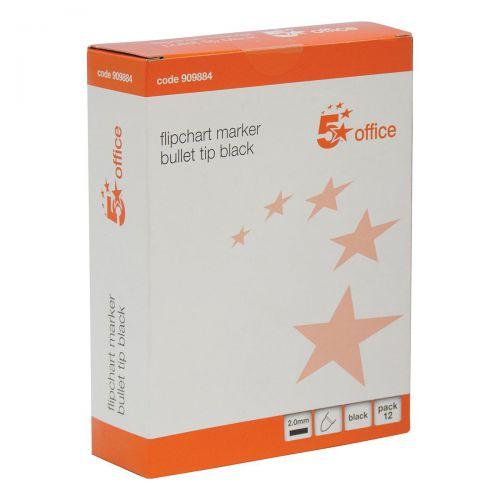 5 Star Office Flipchart Marker Bullet Tip Water-based 2mm Line Black [Pack 12]