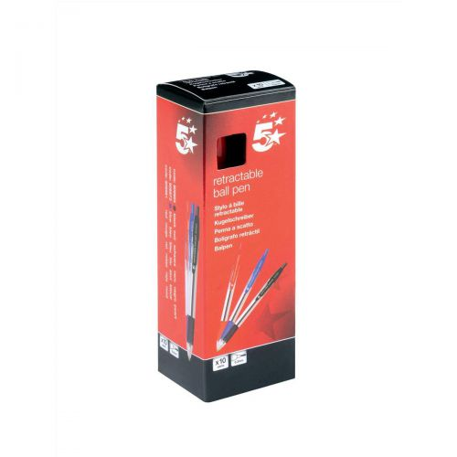 5 Star Office Retractable Grip Ball Pen Medium 1.0mm Tip 0.4mm Line Red [Pack 10]