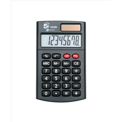 5 Star Office Handheld Calculator 8 Digit 3 Key Memory Solar and Battery Power 56x8x100mm Black