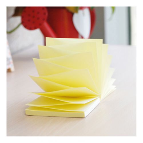 5 Star Office Re-Move Notes Concertina Pad of 100 Sheets 76x76mm Yellow [Pack 12]