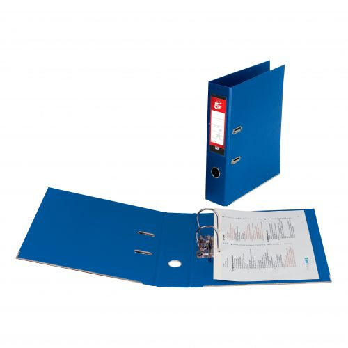 5 Star Office Lever Arch File Polypropylene Capacity 70mm Foolscap Blue [Pack 10]