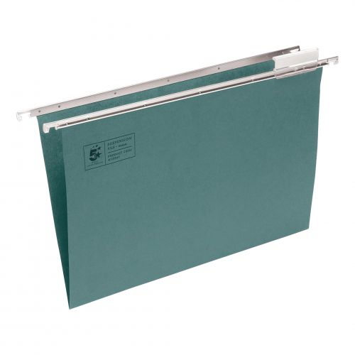 5 Star Office Suspension File with Tabs and Inserts Manilla 15mm V-base 180gsm A4 Green [Pack 50]
