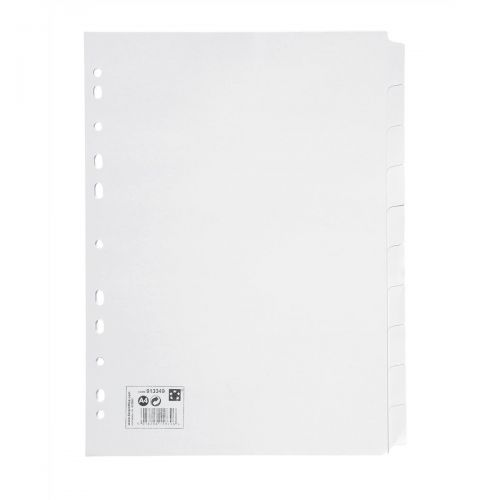 5 STAR A4 10-PART WHITE SUBJECT DIVIDERS