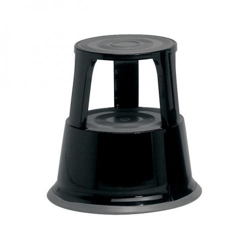 5 Star Facilities Step Stool Mobile Spring-loaded Castors Max 150kg Top D290xH430xBase D435mm 5kg Black