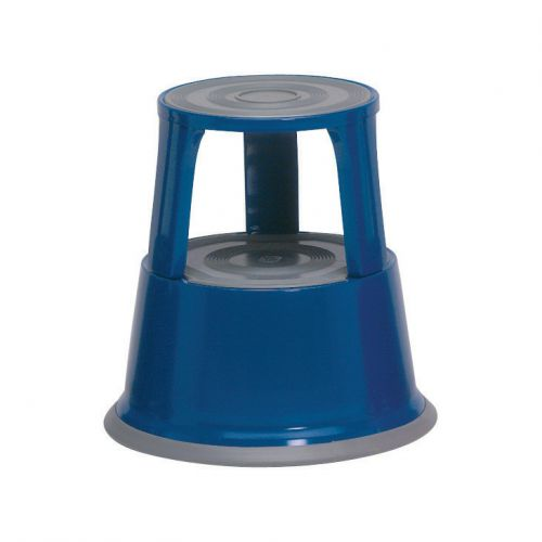 5 Star Facilities Step Stool Mobile Spring-loaded Castors Max 150kg Top D290xH430xBase D435mm 5kg Blue