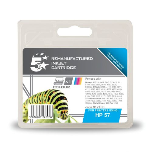 5 Star Office Remanufactured Inkjet Cart Page Life 500pp 17ml Tri-Colour [HP No.57 C6657AE Alternative]