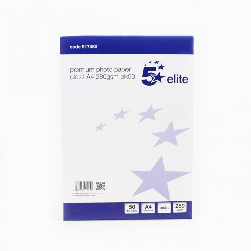 5 Star Elite Photo Inkjet Paper Gloss 280gsm A4 White [50 Sheets]