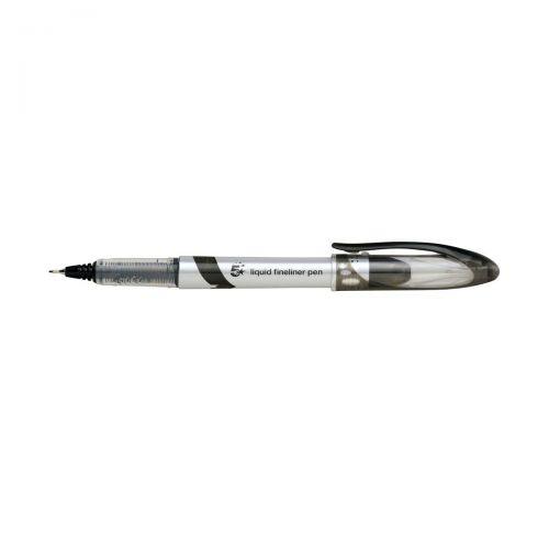 5 Star Elite Fineliner Pen Liquid 0.8mm Tip 0.4mm Line Black [Pack 12]