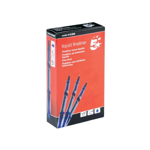 5 Star Elite Fineliner Pen Liquid 0.8mm Tip 0.4mm Line Blue [Pack 12]