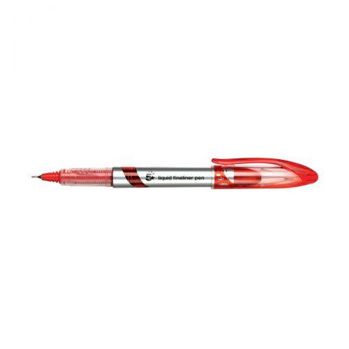 5 Star Elite Fineliner Pen Liquid 0.8mm Tip 0.4mm Line Red [Pack 12]
