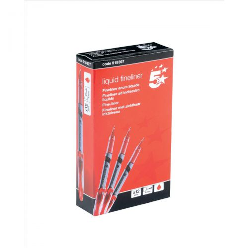 5 Star Elite Fineliner Pen Liquid 0.8mm Tip 0.4mm Line Red [Pack 12]
