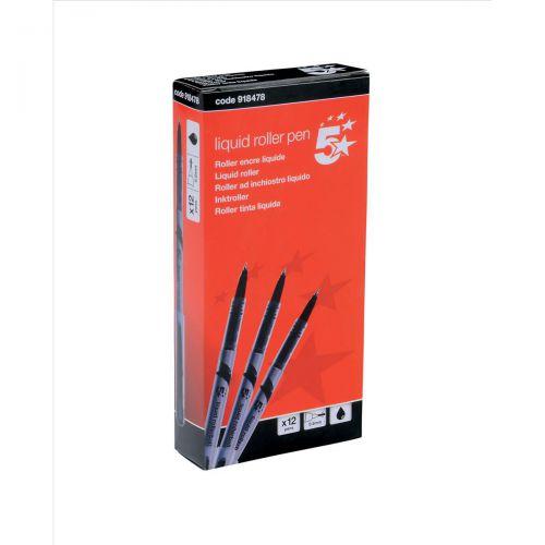 5 Star Elite Rollerball Pen Liquid Fine 0.7mm Tip 0.5mm Line Black [Pack 12]