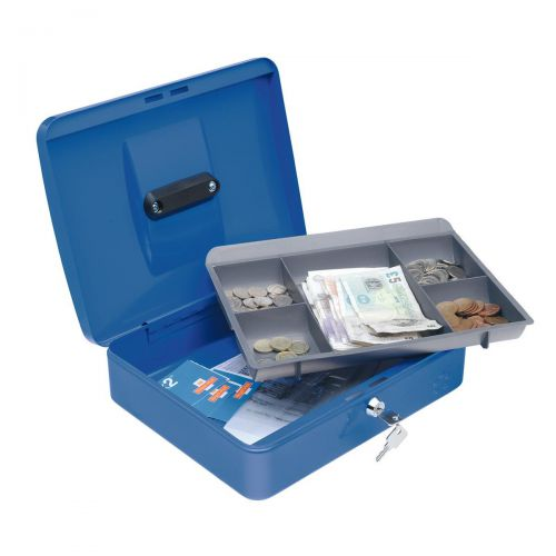 Image for 5 Star Facilities Cash Box with 5-compartment Tray Steel Spring Lock 12 Inch W300xD240xH70mm Blue